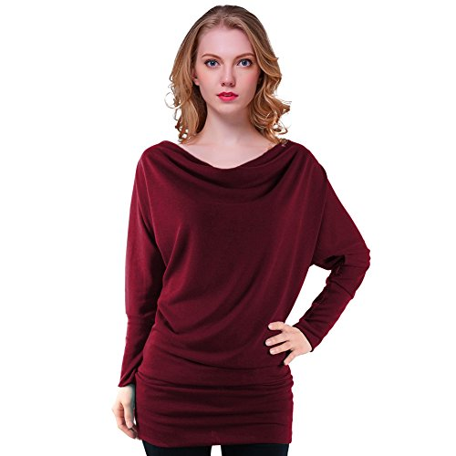 Fancyqube(TM) Women's Batwing Sleeve Cowl Neck T-Shirt Top Blouse Burgundy XL (Cowl Shirt compare prices)