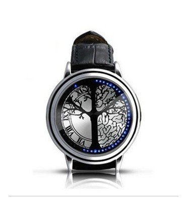 Spwatches  Stainless Steel Material Elegant Design Blue Hybrid Touch Screen LED Watch,COME WITH FREE KEYCHAIN High Class Design, Leather Band, Support Touchscreen