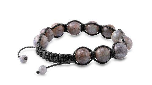 Tibetan Knotted Bracelet - Labradorite w/ Black String - Bead Size: 8mm, Adjustable Length