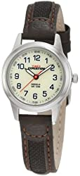 Timex Women's T41181 Expedition Silver-Tone Watch with Leather and Nylon Band