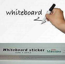 【little Monster】壁 に 貼って はがせる ホワイト ボード(白板)ウォール ステッカー 200cm×45cm マーカー ペン (黒)1本 + ホワイトマーカー(赤)1本 付き 防水 シール!リビング/キッチン/子供部屋/ 賃貸 物件 でもOK♪A180