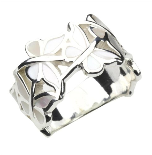 Mother of Pearl & 925 Sterling Silver Butterfly Ring