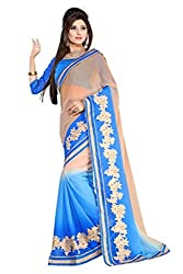 Bikaw Women's Chiffon Saree (RS_Maira_1311_Beige And Blue_Free Size)
