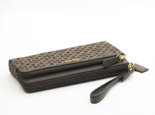 Coach   NEW AUTHENTIC COACH MADISON NEEDLE POINT DOUBLE ZIP WRISTLET (Mahogany)