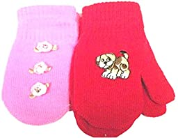Set of Two Pairs Magic Mittens for Infants with Applique\'s for Ages 6-24 Months