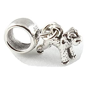 Sterling Silver Schnauzer Dog Dangle Bead Charm To Fit
