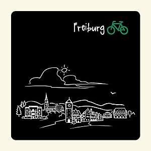 """Untersetzer """"Skyline Freiburg"""" (schwarz) - als Geschenk für Breisgauer & Fans der Stadt am Fuss des Schwarzwalds oder als Freiburg Souvenir - die stadtmeister"""