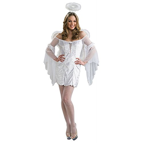 GSG White Angel Costume Adult Dress Wings Halo Christmas Fancy Dress (Angel Halo Fancy Dress)