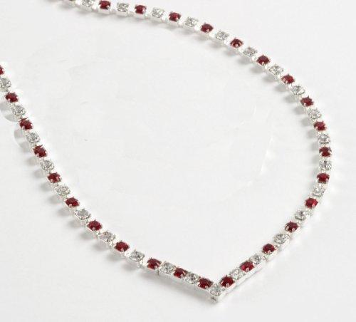Lj Designs Crystal & Red Diamante 'V' Necklace (K39) - Swarovski Crystal