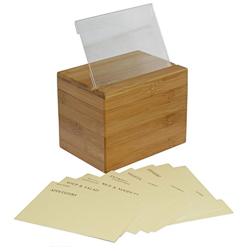 Oceanstar Bamboo Recipe Box with Divider, Natural 2