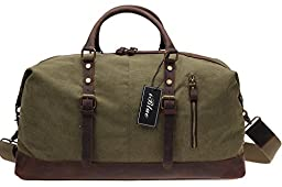 Iblue Weekend Duffle Bag Upgraded Canvas Leather Travel Sports Bag 21 Inch #B008 (XL, army green)