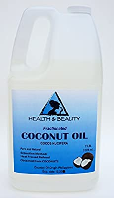 Coconut Oil Fractionated Organic Carrier Ultra Refined Premium 100% Pure 128 oz, 7 LB, 1 gal