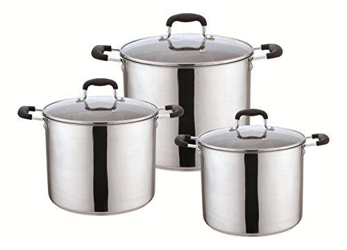 Kitchen Sense Set of 3 Stainless Steel Stock Pots with Glass Lids (8Qt, 10Qt, 12Qt) - Black Handles (Tfal 12qt Stock Pot compare prices)