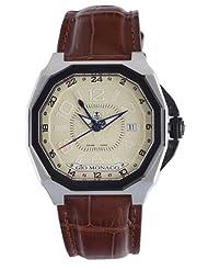 Gio Monaco Men's 722-A Medusa Octagon Beige Dial Alligator Leather GMT Watch