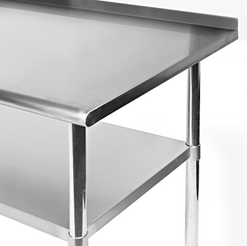 gridmann nsf stainless steel commercial kitchen prep work table w backsplash 60 in x 24 in