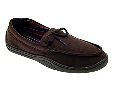 MENS MOCCASIN SLIPPERS MULES SOFT WARM COMFORTABLE FAUX SUEDE FLEXIBLE TAN BROWN 06