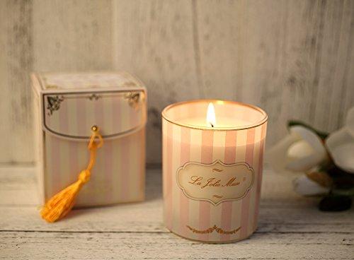 Olio Essenziale di Gardenia Regalo di Natale Candela Profumata Adorabili Candele alla Cera di Soia Supporto in Vetro Combustione 45 ore