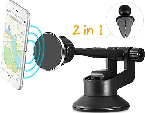 Safergo 2-in-1 Magnetic Long Arm Car Phone Mount with Gel Suction Cup for Windshield/Air Vent/Dashboard(Free Sticky Pad Offerd)