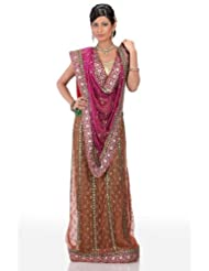 Chhabra555 Purple Net One Minute Saree - B00J4RPA3C