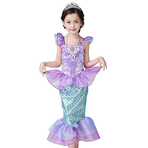 CosplayHut プリンセスドレス ディズニー 人魚姫 アリエルAriel コスプレ衣装  子供仮装舞踏会  ワンピース パープル 演劇ドレス 子供向け