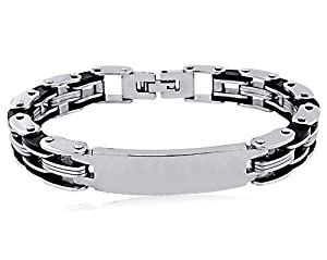 Men's Stainless Steel Black Rubber Medical ID Bracelet 8.5