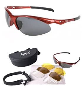 Roadmaster POLARISED SUNGLASSES - RED for Running, Cycling and Triathlon Sports, with INTERCHANGEABLE Polarized and Low Light LENSES. For Men, Women and Junior Use. UVA / UVB (UV400) Protection