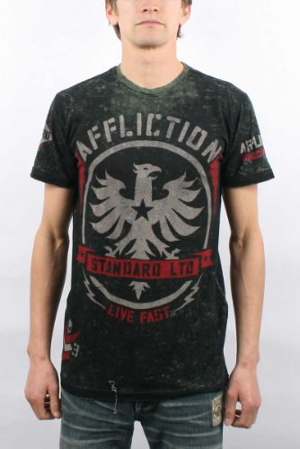 Affliction - Mens Dark Star T-Shirt In Military Green Lava Tint, Size: Large, Color: Military Green Lava Tint