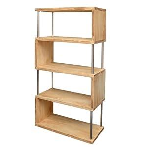Libreria da parete, mobile divisorio, scaffale per ufficio, mobile portaoggetti a ripiani, color rovere chiaro. Nuovo. Altezza 126 centimetri   recensioni dei clienti