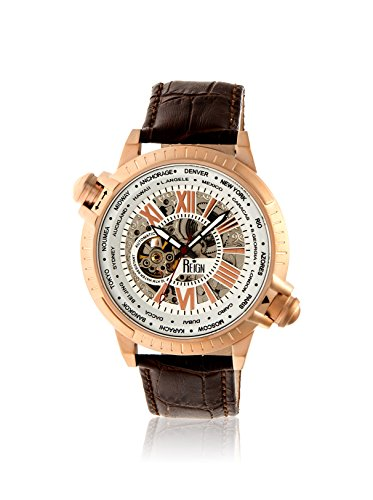 Reign Men's REIRN2104 Thanos Rose-Tone/Brown Leather Watch