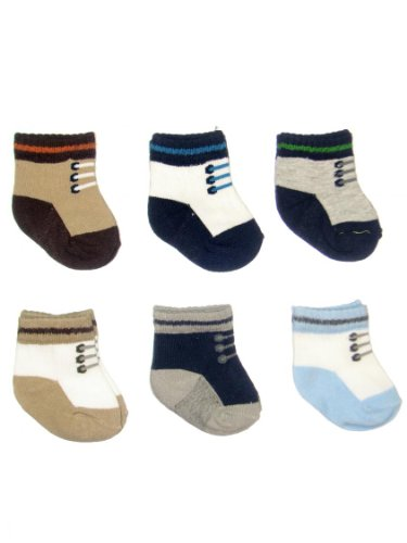 Carter's Hosiery Baby-boys Newborn Six Pack Comp Sneakers Sock, Blue/White/Grey/Brown, 3-12 Months