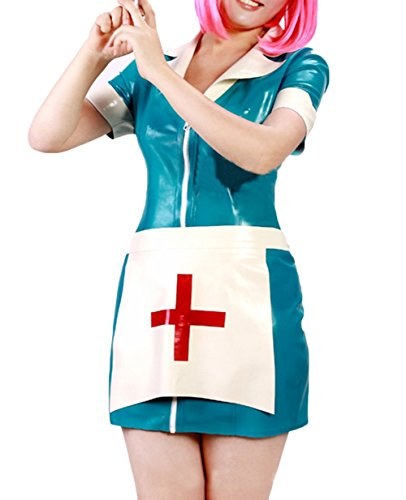 JustinLatex Women's Nurse Cosplay Clothing Wet Look Short Sleeve Nurse Dress