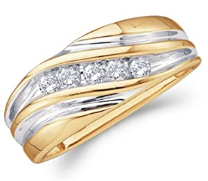 Mens Diamond Wedding Band 14k Yellow Gold Engagement Ring (1/4 Carat), Size 10