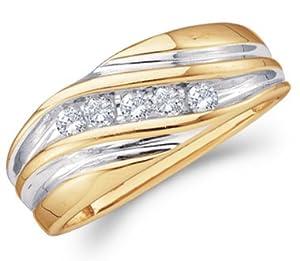 Mens Diamond Wedding Band 14k Yellow Gold Engagement Ring (1/4 Carat), Size 10
