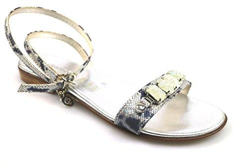 scarpe donna CESARE P. 40 sandali blu argento pelle tessuto AS911