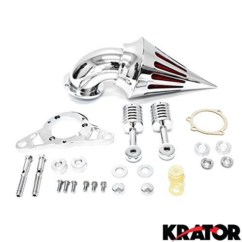 Krator® Motorcycle Chrome Spike Air Cleaner Intake Filter For 2002-2007 Harley Touring Road King Street Glide (Harley Road King Air Cleaner compare prices)