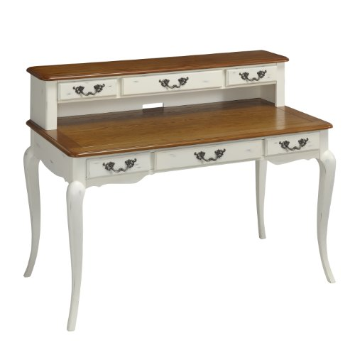 Home Styles 5518-152 The French Countryside Executive Desk And Hutch, Oak And Rubbed White front-948080