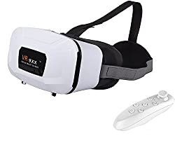 Micomy VR 9XX Universal 3D VR Headset / VR Glass Virtual Reality Headset with Zoom and Lens Adjustable Feature for all Smartphones (3.5 to 5.5 inches) -White With Gamepad Bluetooth Game Remote Controller