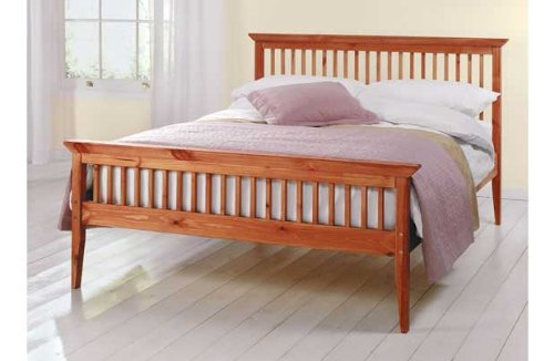 Double Wooden Bed Frame Caramel With Mattress 4ft6in Shaker Tanya