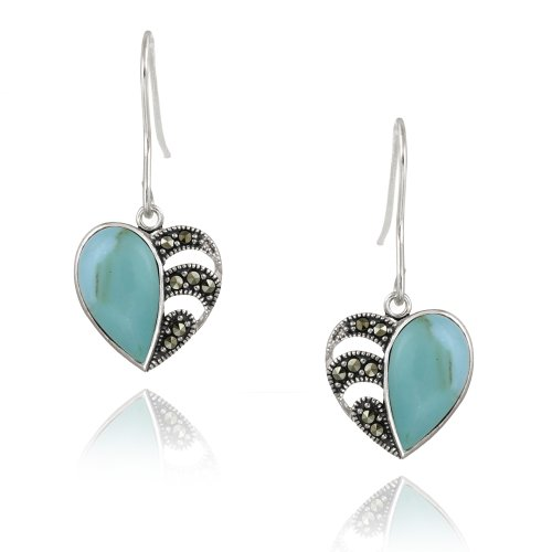 Sterling Silver Marcasite & Created Turquoise Heart Earrings