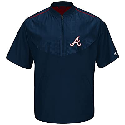 Atlanta Braves Navy On-Field Short Sleeve Training Jacket by Majestic