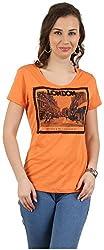 MANKA Women's Half Sleeve Top (MK-543_L, Orange, Large)