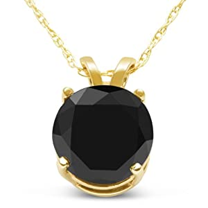 2ct Black Diamond Solitaire Necklace in 14k Yellow Gold, 18