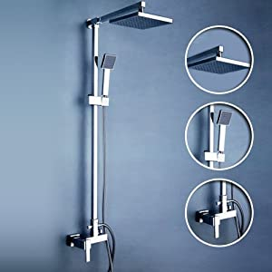 Ouku Wall Mount Contemporary Shower Faucet With 8 Inch Fixed Shower Head Handheld Showerhead