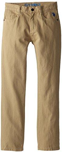 U.S. Polo Assn. Big Boys' Bedford Cord 5 Pocket Pants, Dark Khaki, 16
