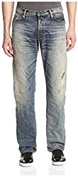 PRPS Goods & Co. Men's Barracuda Regular Fit Red Antique Washed Jean, Indigo, 28