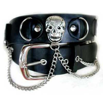 Black Pirate Skull Chain Link Goth Grommet Belt Large