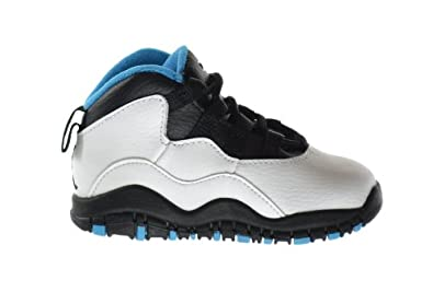 Buy Jordan 10 Retro (TD) Baby Toddlers Basketball Shoes White Dark Powder Blue-Black 310808-106 by Jordan