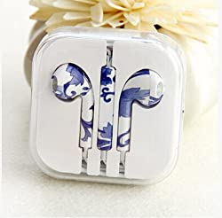 KARP Fancy Printed Designer Earphone for Apple iPhone/Android Mobiles/Tablets with Mic (Blue Flower)