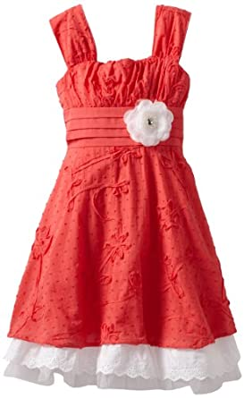 My Michelle Big Girls' Scalloped Hem Dress, Coral, 10