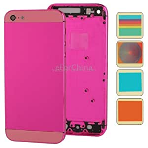 White Luminescent Logo Full Housing Alloy Replacement Back Cover with Mute Button + Power Button + Volume Button + Nano SIM Card Tray + 10 Colors Sticker for iPhone 5 (High Quality Version), Magenta(Magenta)